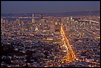Wide night view of San Francisco from above. San Francisco, California, USA (color)