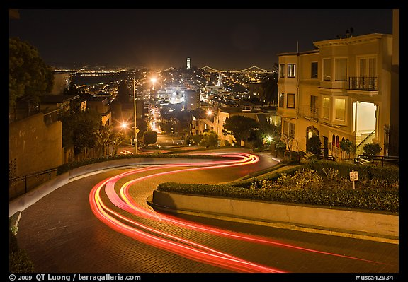 Crooked section of Lombard Street at night. San Francisco, California, USA