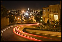 Crooked section of Lombard Street at night. San Francisco, California, USA ( color)