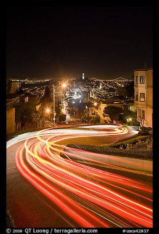 Light blurs on Lombard Street at night. San Francisco, California, USA (color)