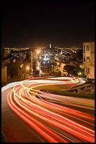 Light blurs on Lombard Street at night. San Francisco, California, USA ( color)