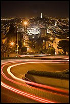 Tight hairpins turn by night on Lombard Street. San Francisco, California, USA ( color)
