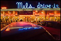 Mels drive-in restaurant at night. San Francisco, California, USA (color)