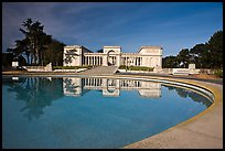 Basin reflecting California Palace of the Legion of Honor, Lincoln Park. San Francisco, California, USA (color)