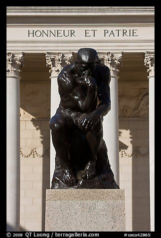 Rodin sculpture The Thinker and Legion of Honor motto in French. San Francisco, California, USA (color)