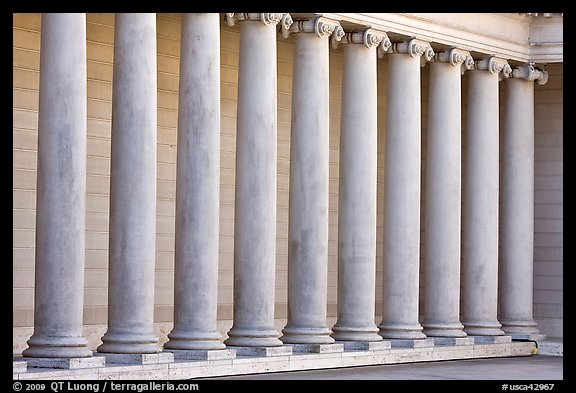 Row of columns, Legion of Honor, early morning, Lincoln Park. San Francisco, California, USA (color)