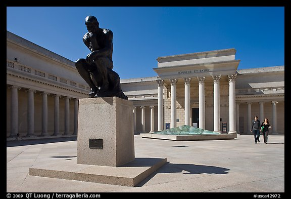 Forecourt of California Palace of the Legion of Honor with The Thinker by Auguste Rodin. San Francisco, California, USA (color)