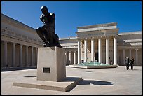 Forecourt of California Palace of the Legion of Honor with The Thinker by Auguste Rodin. San Francisco, California, USA