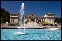 Fountain and California Palace of the Legion of Honor, marking terminus of Lincoln Highway. San Francisco, California, USA (color)