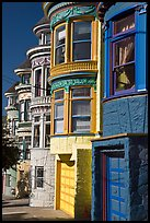 Colorful Victorian houses, Haight-Ashbury District. San Francisco, California, USA (color)