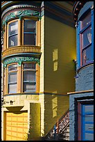Victorian houses detail, Haight-Ashbury District. San Francisco, California, USA (color)