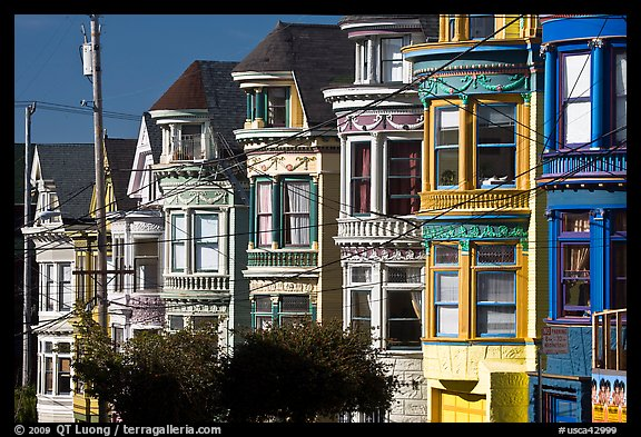 Row of brightly painted Victorian houses, Haight-Ashbury District. San Francisco, California, USA