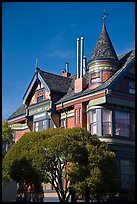 Red victorian house, Haight-Ashbury District. San Francisco, California, USA ( color)