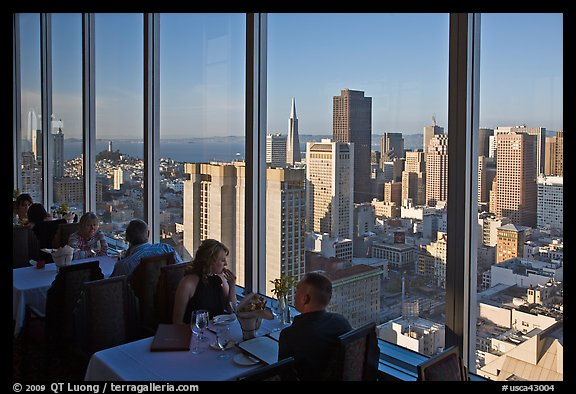 View On San Francisco Downtown From Rooftop Restaurant California Usa