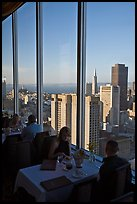 Rooftoop restaurant dining with a view. San Francisco, California, USA ( color)