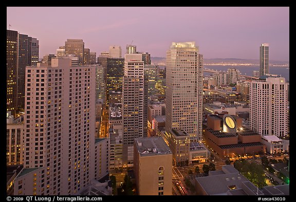 High-rise buildings and SF MOMA at dusk from above. San Francisco, California, USA (color)