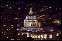 City Hall at night from above. San Francisco, California, USA ( color)