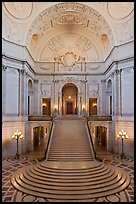 Rotunda of beaux-arts style City Hall. San Francisco, California, USA (color)