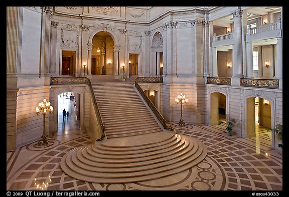 Grand staircase inside City Hall. San Francisco, California, USA (color)