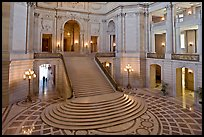 Grand staircase inside City Hall. San Francisco, California, USA
