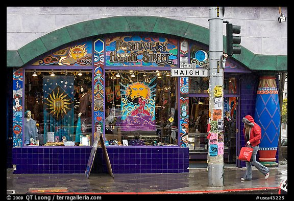 Rainny sidewalk and store with psychadelic colors. San Francisco, California, USA (color)