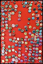 Buttons with peace symbols. San Francisco, California, USA ( color)