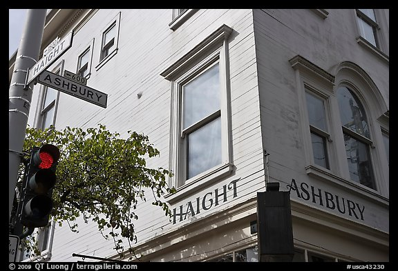 Corner of  Haight Street and Ashbury Street. San Francisco, California, USA (color)