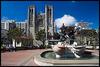 Fountain and Grace Cathedral, Nob Hill. San Francisco, California, USA (color)
