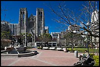 Huntington Park and Grace Cathedral. San Francisco, California, USA