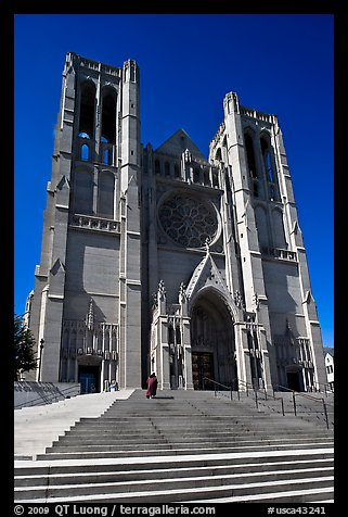 Grace Cathedral from the front steps. San Francisco, California, USA (color)