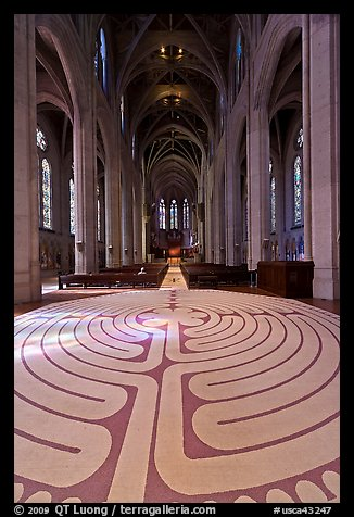 Labyrinth and nave, Grace Cathedral. San Francisco, California, USA (color)