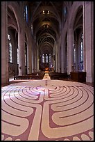 Labyrinth and nave, Grace Cathedral. San Francisco, California, USA