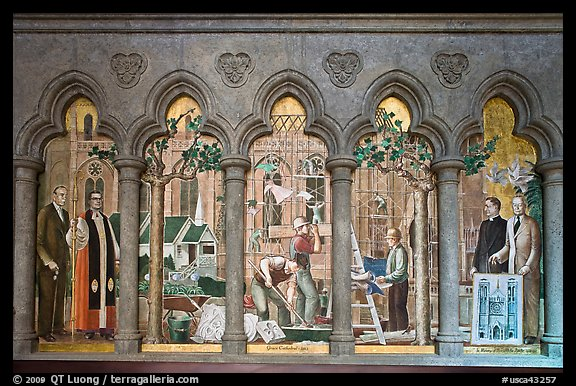 Fresco depicting building of the current cathedral, Grace Cathedral. San Francisco, California, USA (color)