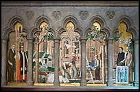 Fresco depicting building of the current cathedral, Grace Cathedral. San Francisco, California, USA