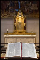 Bible and crucifix, Grace Cathedral. San Francisco, California, USA (color)