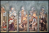Fresco depicting the fire destroying the old Grace Cathedral, Grace Cathedral. San Francisco, California, USA