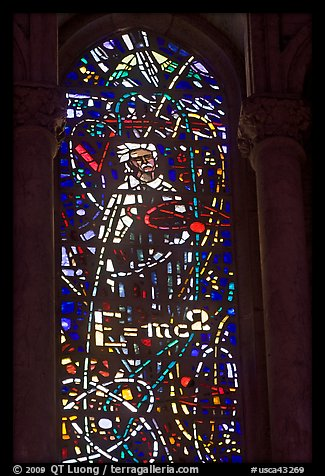 Stained glass window with Einstein figure and famous energy equation, Grace Cathedral. San Francisco, California, USA (color)