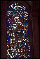 Stained glass window with Einstein figure and famous energy equation, Grace Cathedral. San Francisco, California, USA