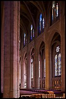 Nave and stained glass windows, Grace Cathedral. San Francisco, California, USA