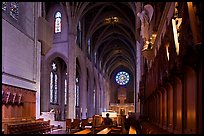Grace Cathedral interior with church organist, Grace Cathedral. San Francisco, California, USA (color)