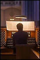 Musician playing organ, Grace Cathedral. San Francisco, California, USA
