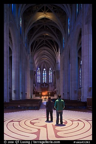 Men standing on the Labyrinth, Grace Cathedral. San Francisco, California, USA