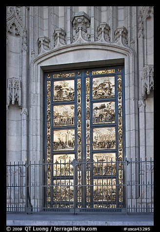 Copy of doors of the Florence Baptistry by Lorenzo Ghiberti, Grace Cathedral. San Francisco, California, USA (color)