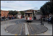 Turntable and cable car. San Francisco, California, USA (color)