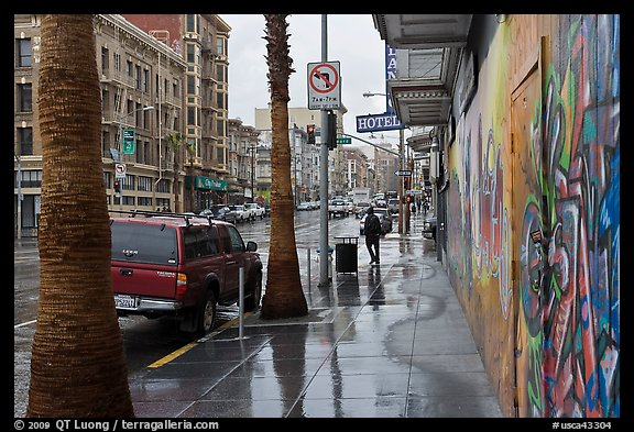 Rainy street. San Francisco, California, USA