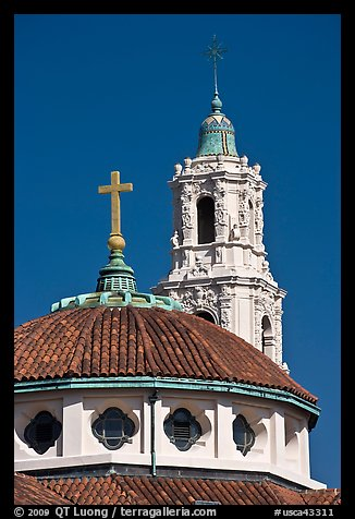 Roof and bell tower, Mission Dolores Basilica. San Francisco, California, USA