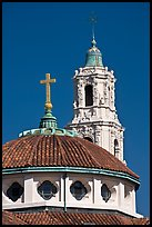 Roof and bell tower, Mission Dolores Basilica. San Francisco, California, USA (color)