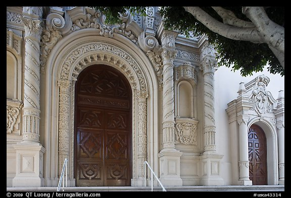 Facade detail with doors, Mission Dolores Basilica. San Francisco, California, USA (color)