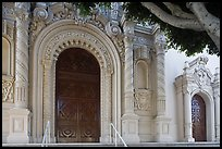 Facade detail with doors, Mission Dolores Basilica. San Francisco, California, USA