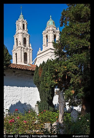 Bell towers of the Basilica seen from the Garden, Mission San Francisco de Asis. San Francisco, California, USA (color)